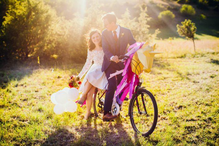mariage funky festival avec vélo licorne