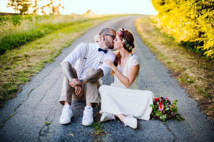photo de couple mariage funky mariés tatoués