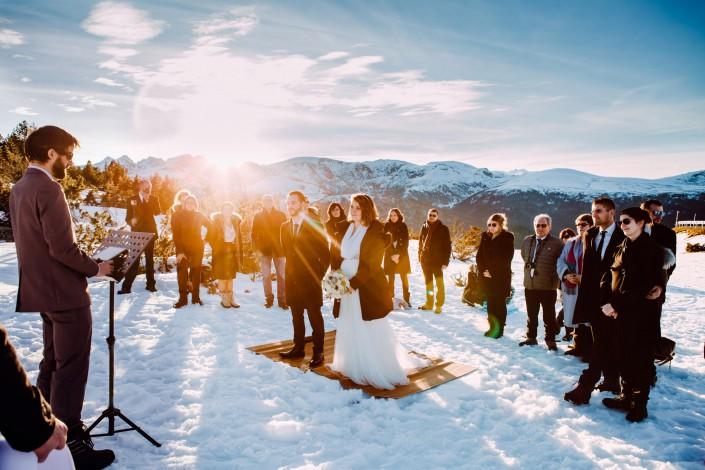 cérémonie laique aux pieds des Pyrénées, mariage hiver