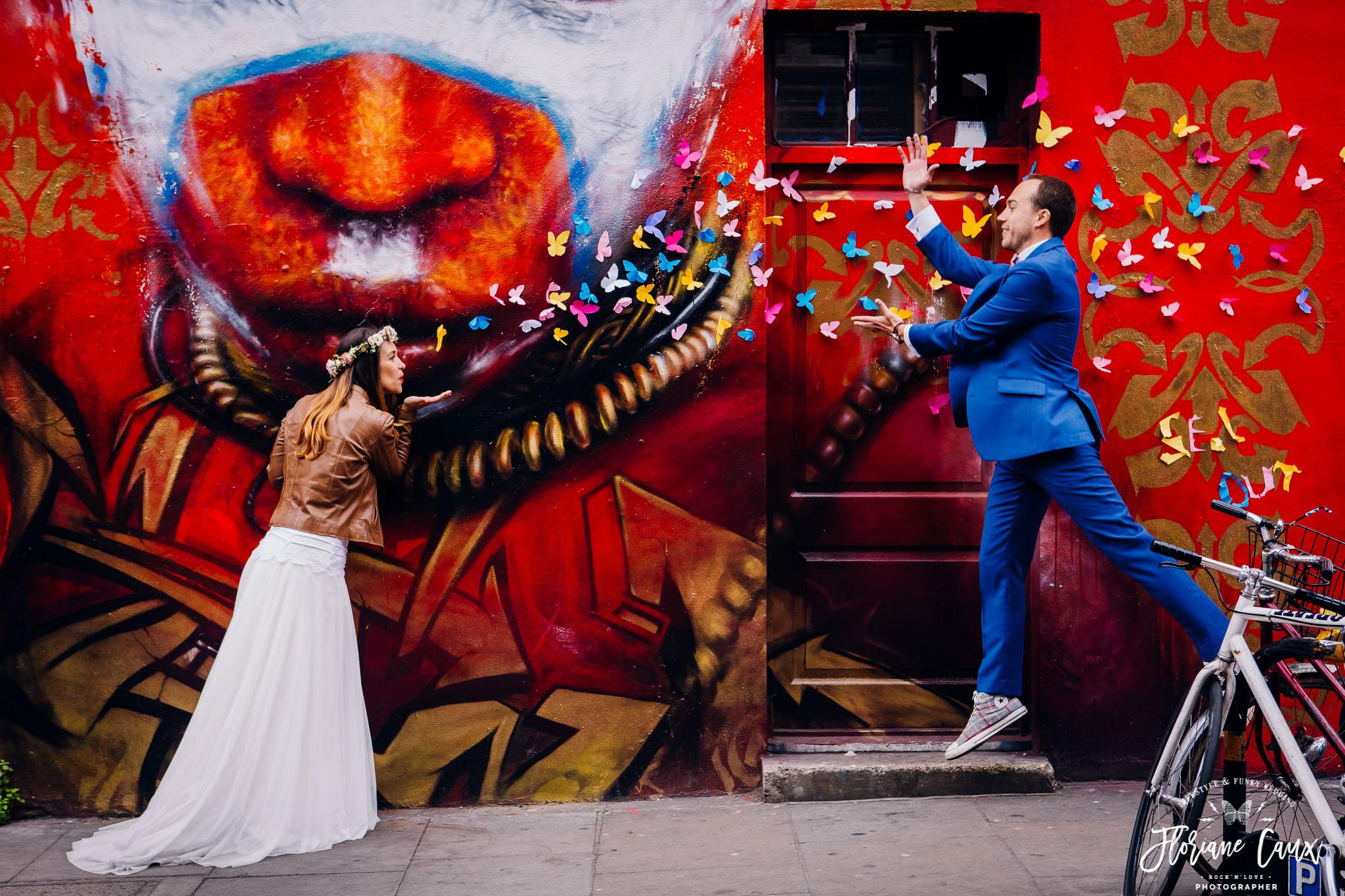 seance photo de couple dans Brick lane à Londres