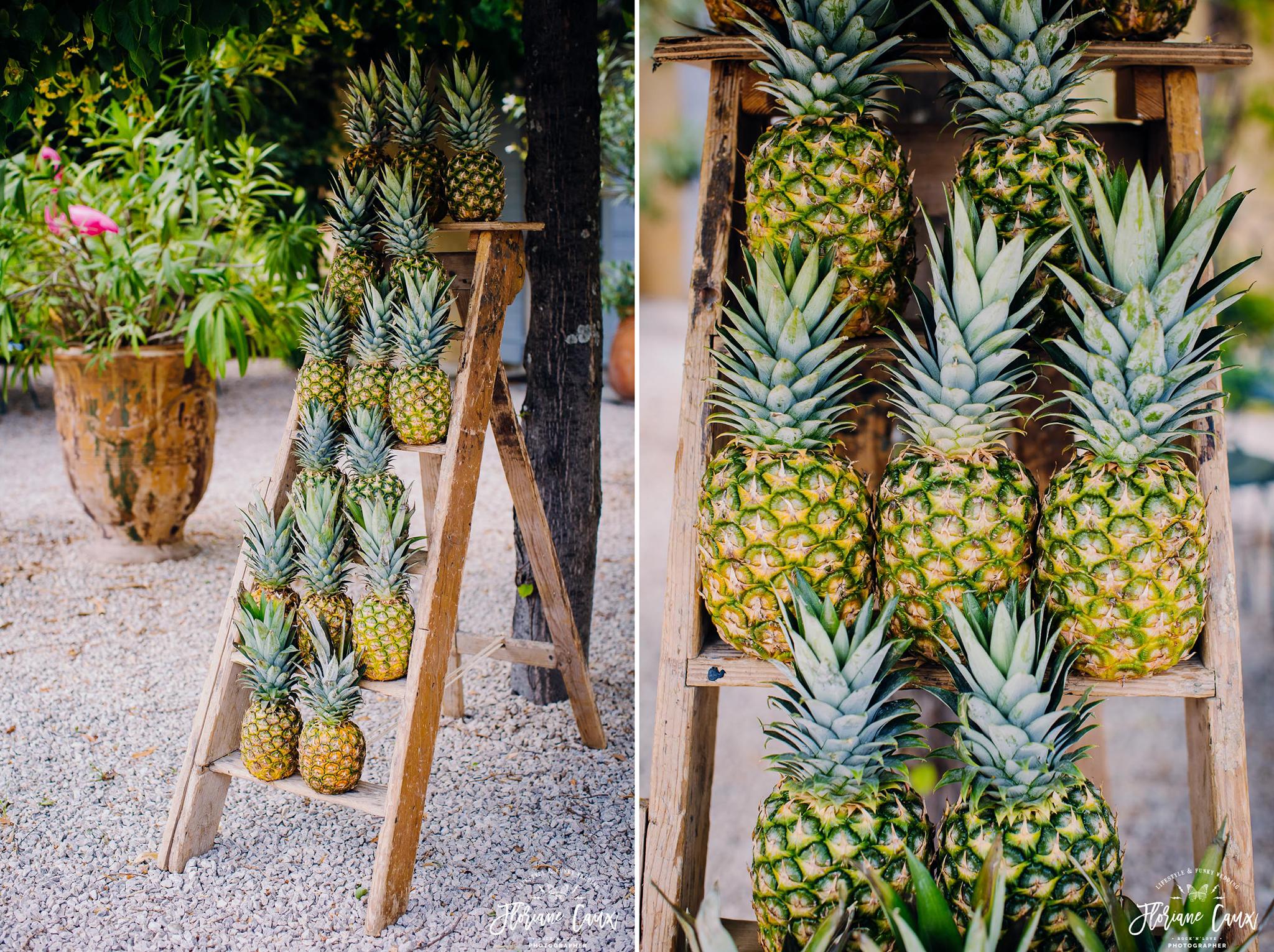 déco ananas pour mariage tropicool à avignon Domaine de Blanche Fleur