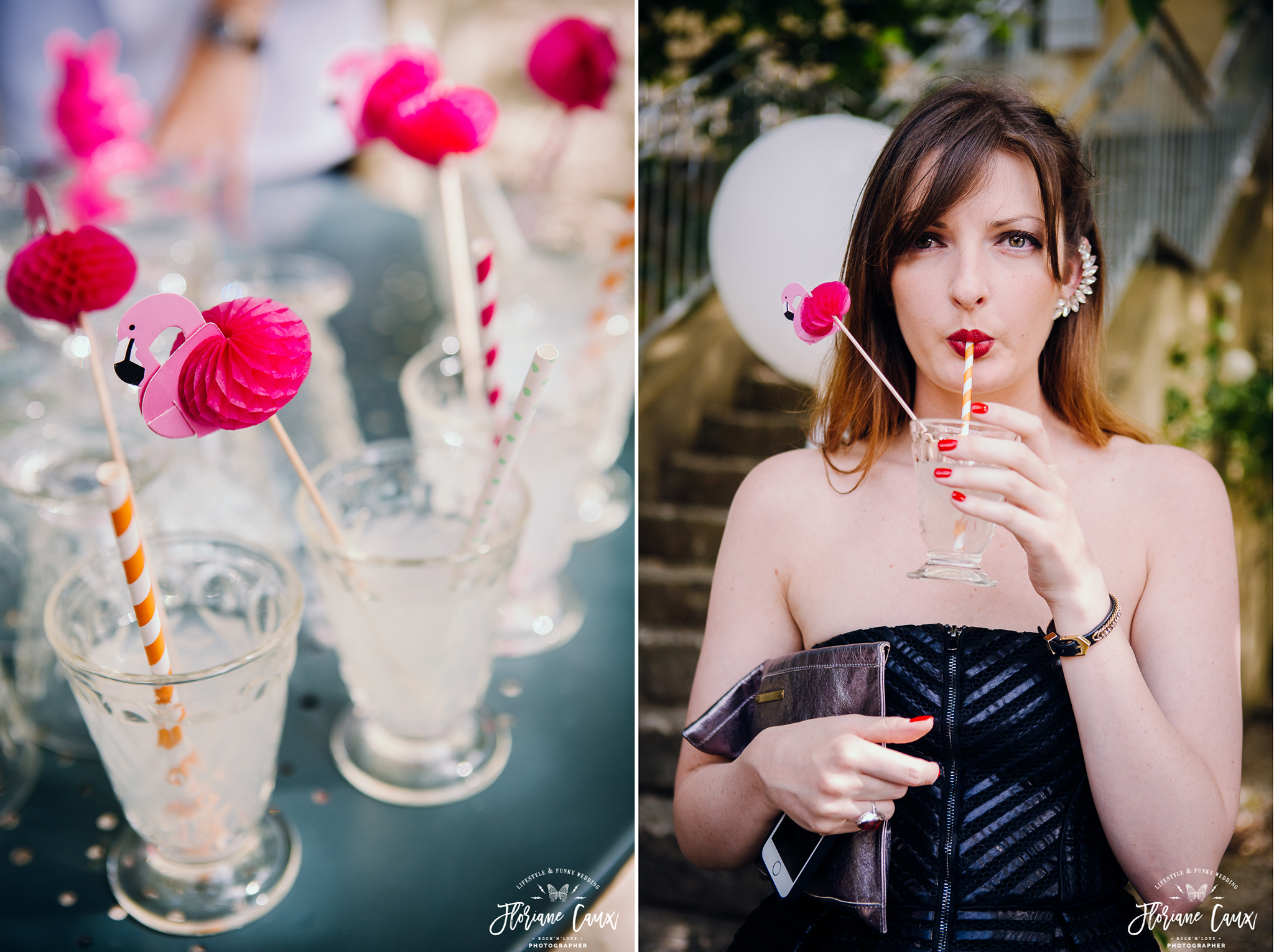 mariage tropicool paille flamands roses
