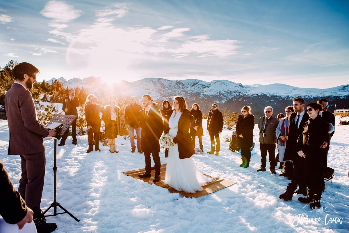 ceremonie laique dans la neige plateau de beille