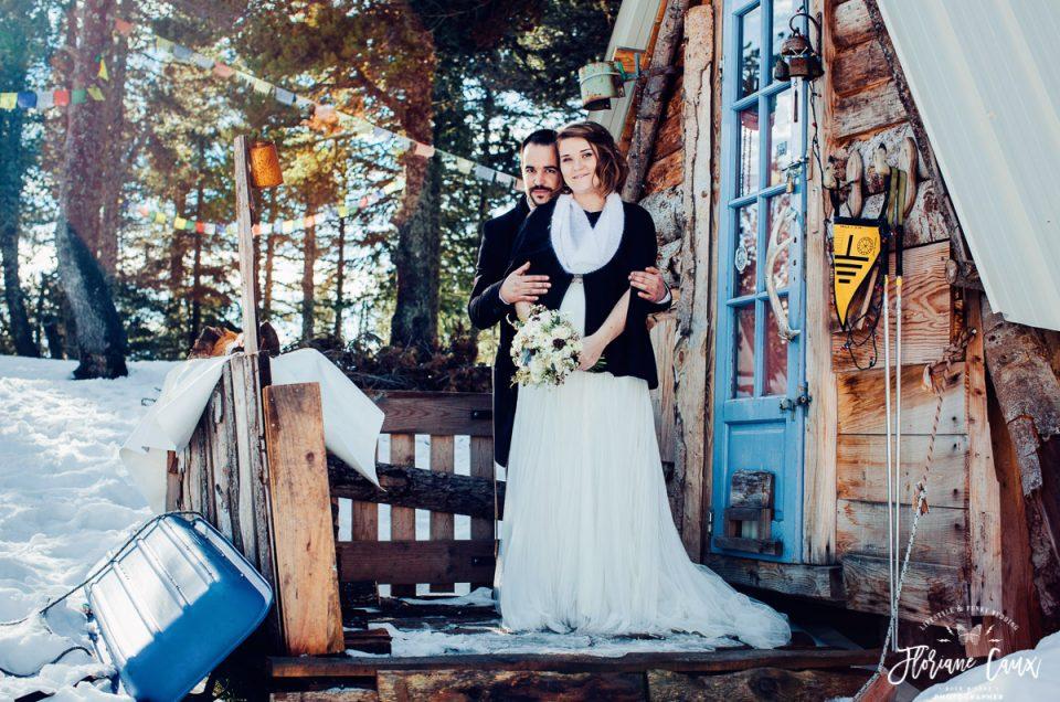 {Mariage d'hiver en Ariège} Lucie & Nicolas, village Nordique Angaka