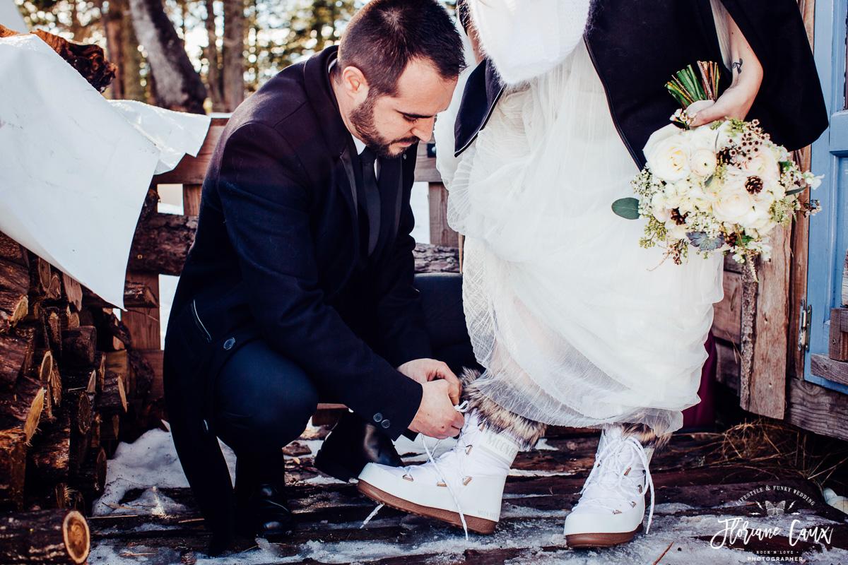 mariage d'hiver, mariée en moon boots