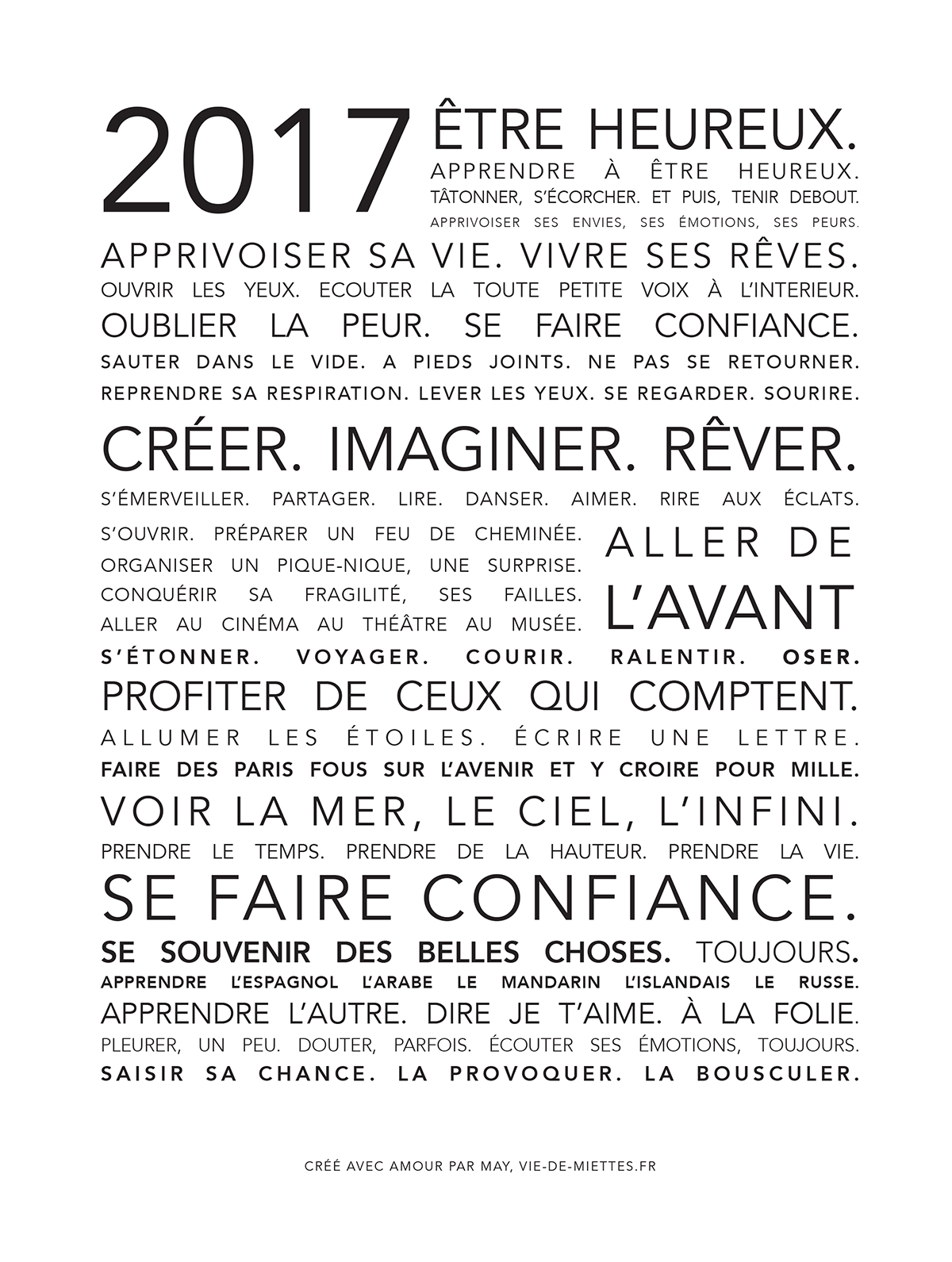 carte de voeux 2017 créée par May Lopez de Vie de miettes