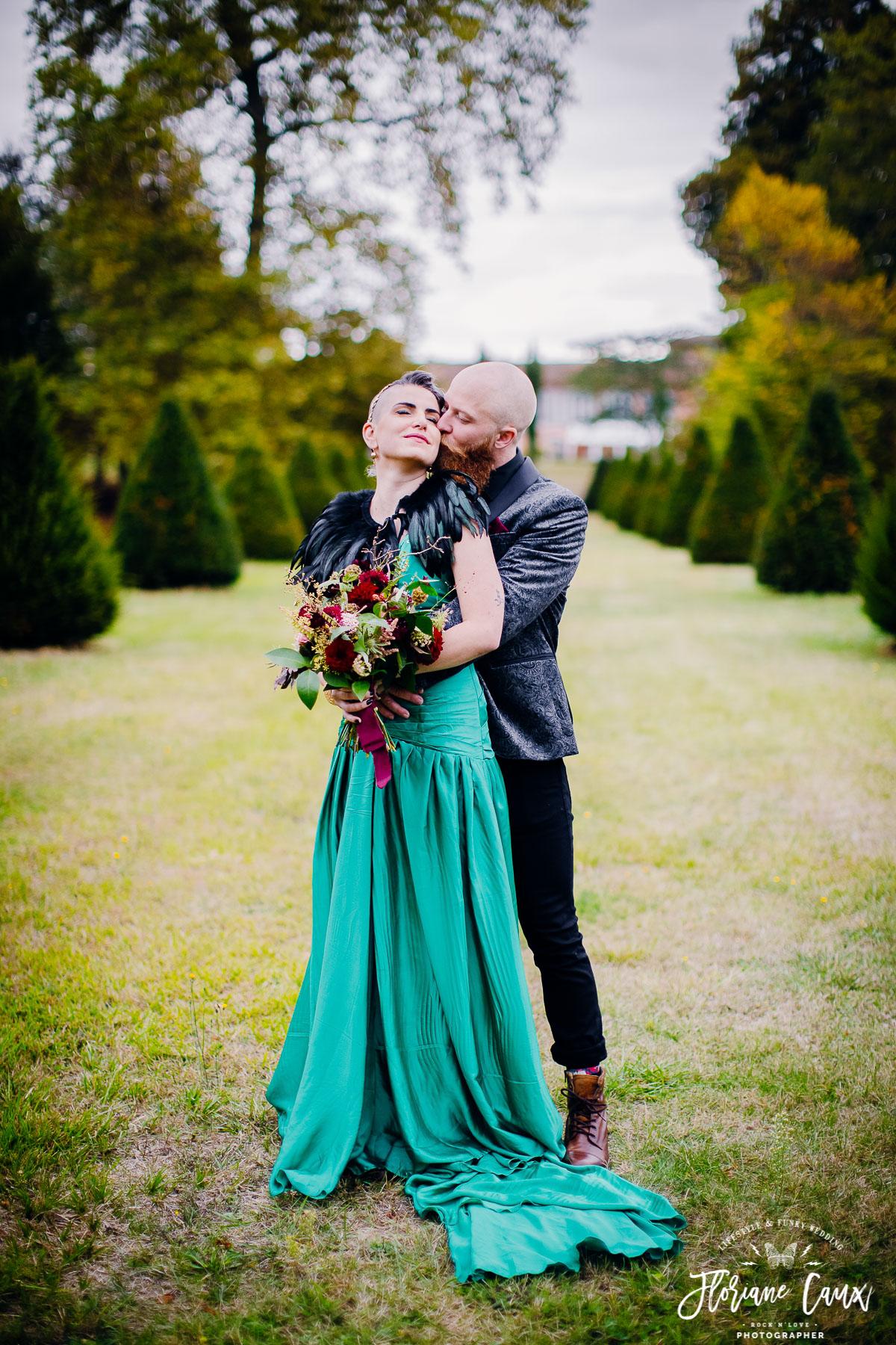 mariée robe verte